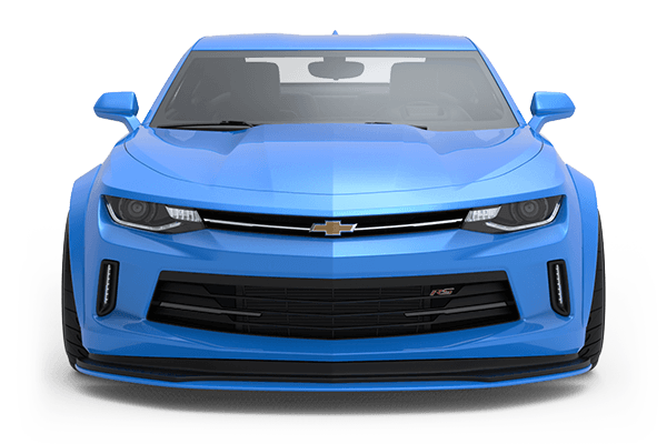 A bright blue Chevrolet Camaro render shown in a front, low angle.